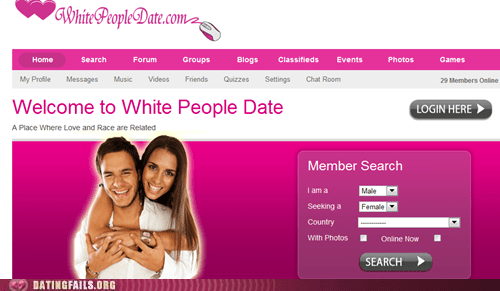 dating sites,racist,white people,White People Date