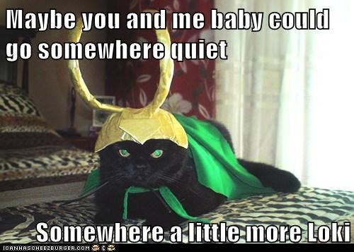 avengers,bed,best of the week,captions,Cats,costume,flirt,loki,lolcats,low key,movies,pun,romantic,The Avengers,Thor