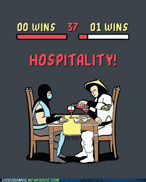 dinner,hospitality,Mortal Kombat,raiden,Sub Zero,the internets
