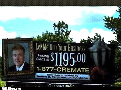 billboard,cremation,funny signs,urn