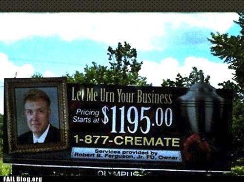 billboard cremation funny signs urn - 6376034304