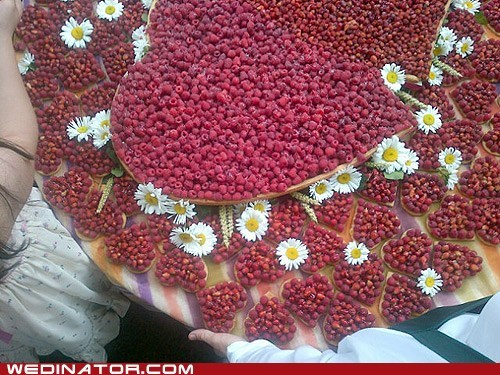 berries,funny wedding photos,heart,Missoni,tart,wedding cake