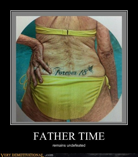 father time hilarious tattoo undefeated - 6376514560