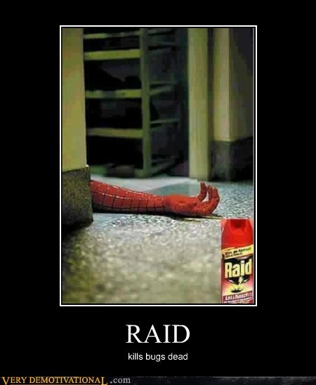 hilarious,kills bugs,raid,Spider-Man