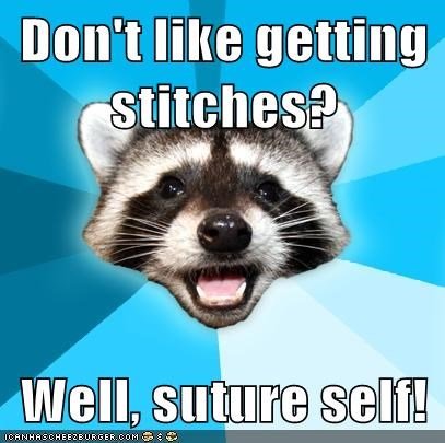 all in vein,Lame Pun Coon,puns,stitch,sutures