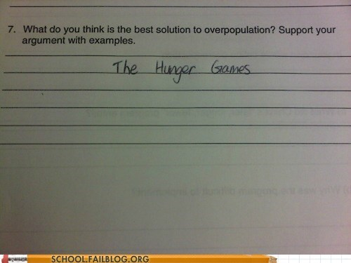 Nerd Quirks,overpopulation,test humor,hunger games