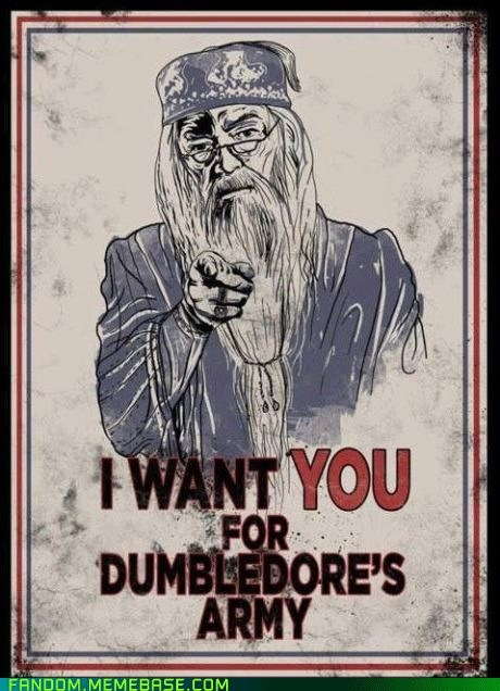 harry potter uncle sam poster spoof parody i want you for dumbledore's army dumbledore pointing at the reader