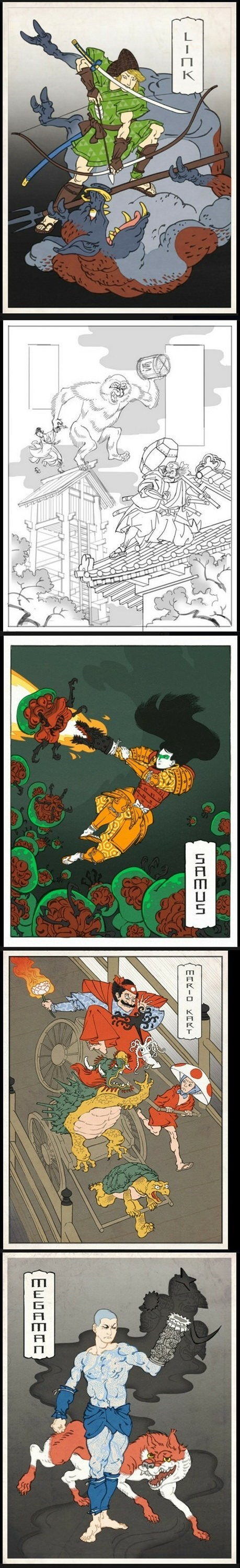 donkey kong Fan Art link mario Mario Kart megaman Metroid samus ukiyo-e video games