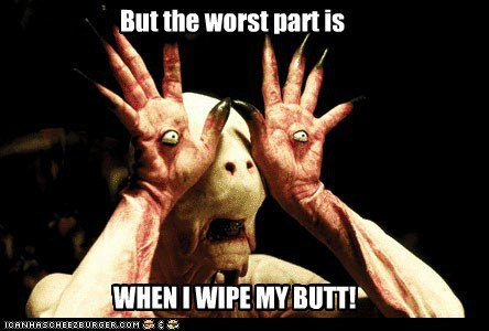 butt eyes monster pans-labyrinth problem scary wiping worst part