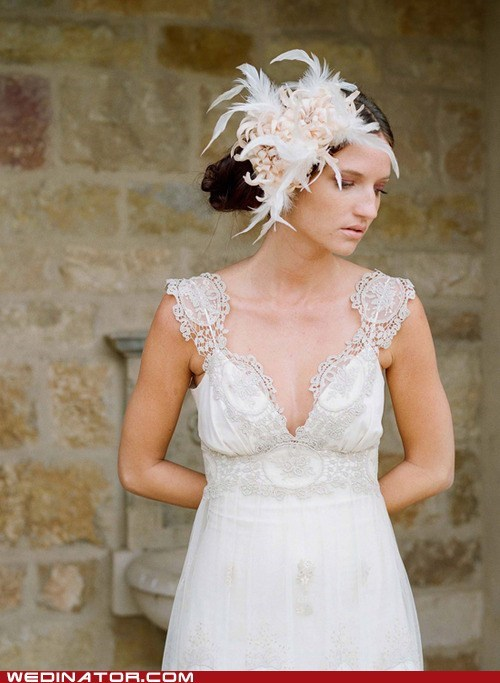 bride,fascinator,feathers,funny wedding photos,hair,just pretty