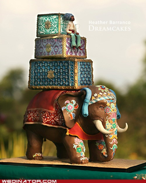 cakes,elephants,funny wedding photos,indian,wedding cakes