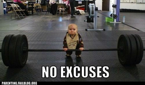 baby,dumb bells,no excuses,weight lifting