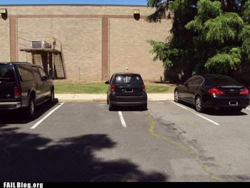 double parked,parking lot,smart car