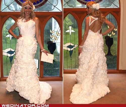 bridal couture,bridal fashion,funny wedding photos,toilet paper,wedding dress
