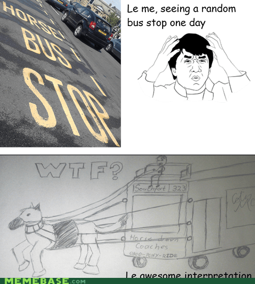 bus stop,carriage,horses,Rage Comics