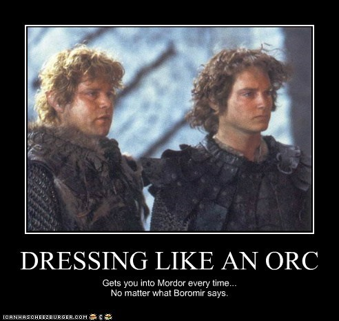 armor,Boromir,disguise,elijah wood,Frodo Baggins,Lord of The Ring,Lord of the Rings,mordor,one does not,orc,sam gamgee,sean astin