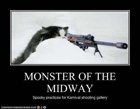 MONSTER OF THE MIDWAY Spooky practices for Karnival shooting gallery