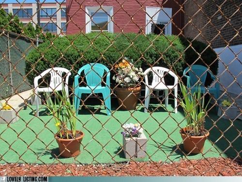 arranged chair fence green vogue white yard - 6379212032
