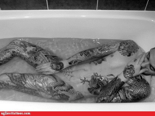 bathtub,black and white,body tattoos
