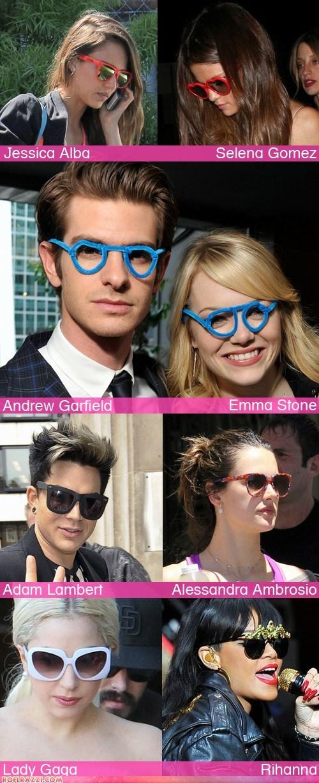 adam lambert,andrew garfield,emma stone,funny celebrity pictures,jessica alba,lady gaga,rihanna,Selena Gomez