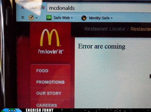 brace yourselves error are coming McDonald's - 6379409408