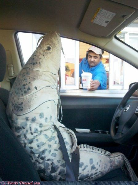 costume,drive thru,fast food,fish