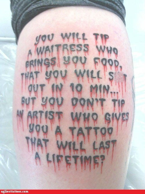 tattoo artist tip waitress