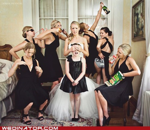 bachelorette party bride bridesmaids funny wedding photos - 6379861760