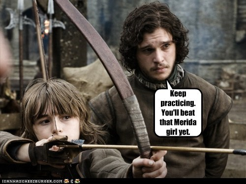 Isaac Hempstead Wright,bran stark,kit harrington,Jon Snow,archery,merida,brave,arrow,practice