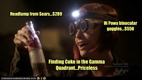 allison scagliotti,claudia donovan,coke,finding,gamma,goggles,happy,headlamp,priceless,warehouse 13