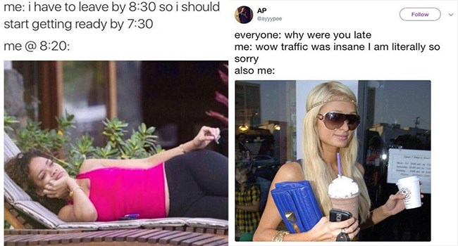funny rihanna and paris hilton memes about always being late