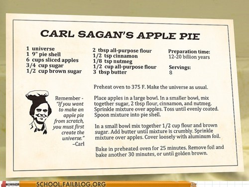 apple pie,carl sagan,nerdy noms,the universe