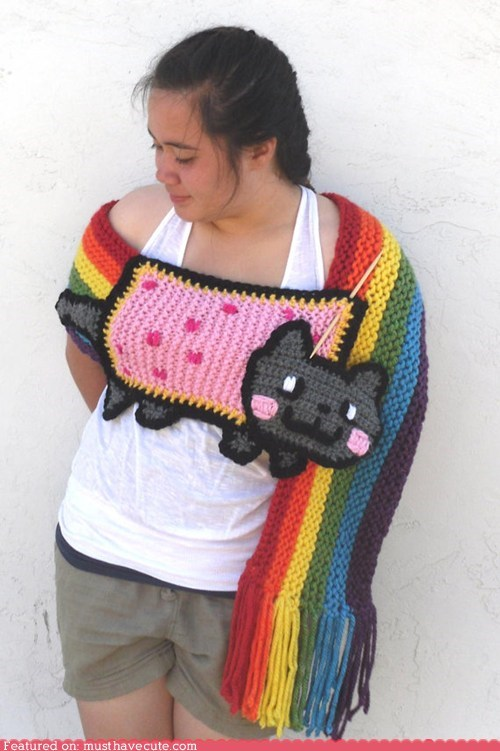 Nyan Cat pop tart rainbow scarf wrap - 6381674240