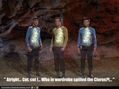 clothes mistake Spock whites wardrobe malfunction DeForest Kelley Captain Kirk Leonard Nimoy William Shatner bleach clorox McCoy ruined cut Shatnerday - 6381809920