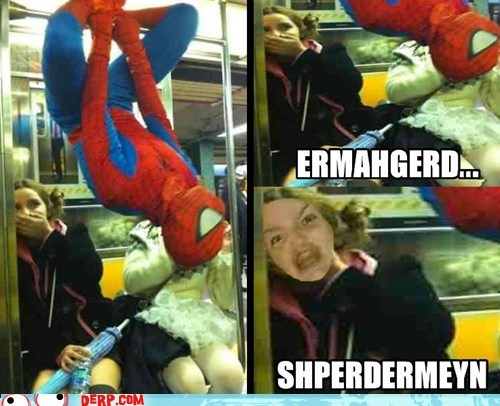 costume,derp,Ermahgerd,Spider-Man,Subway,super heroes