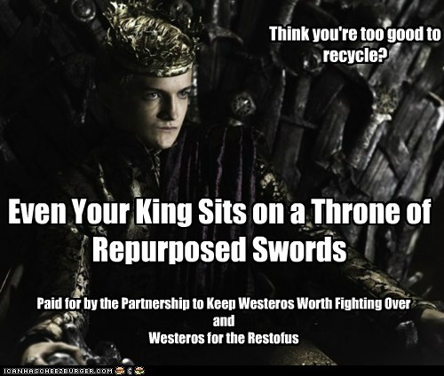 iron throne,jack gleeson,joffrey baratheon,king,psa,recycle,Westeros