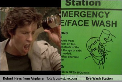 Robert Hays from Airplane! Totally Looks Like Eye Wash Station