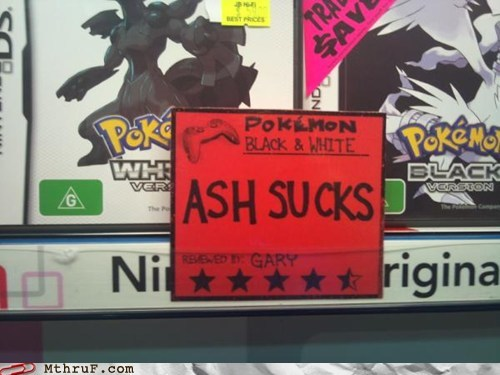 ash ash sucks gary oak Pokémon reviews
