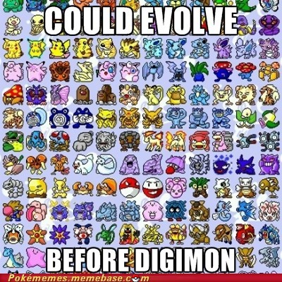 comparison,digimon,evolution,gen 1,Pokémon,the internets