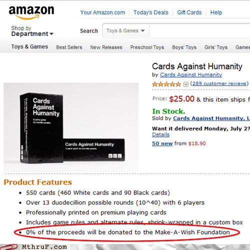 cards against dishonesty cards against humanity Make-A-Wish Foundation - 6382371328