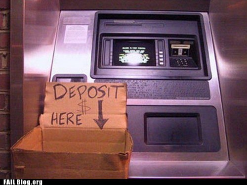 ATM cardboard box deposit money here fail nation g rated