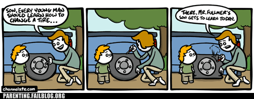 changing a tire,comic,dad,son
