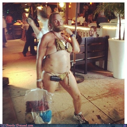 beard,bikini,cross dressing,manly,pool