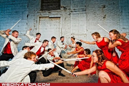 Battle bridesmaids fight funny wedding photos Groomsmen