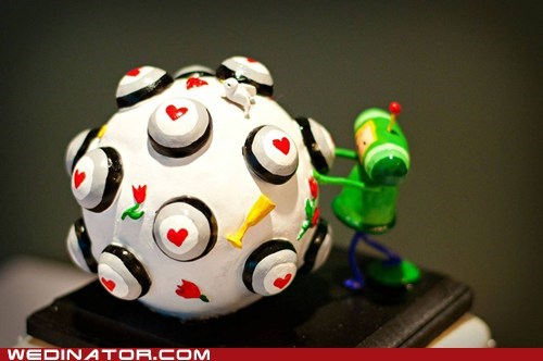 cake toppers,funny wedding photos,geek,Katamari Damacy,video games