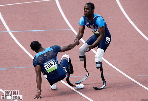 disabled,helping out,race,sports