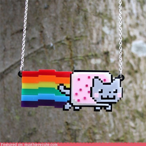 cat,Jewelry,necklace,Nyan Cat,rainbow