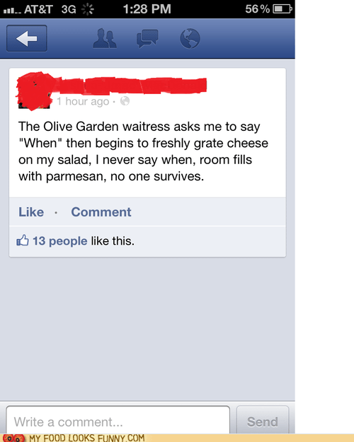 cheese Death facebook joke olive garden salad - 6386330624