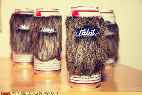 beard beer can koozie pabst pbr
