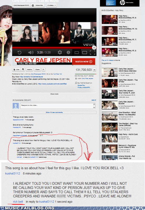 call me maybe carly rae jepsen comment rick bell stalker stalking youtube youtube comments - 6386976256